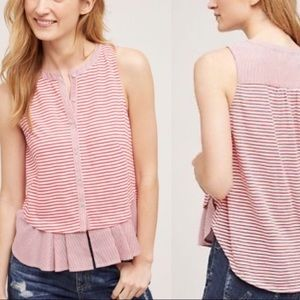 Anthropologie red striped peplum top